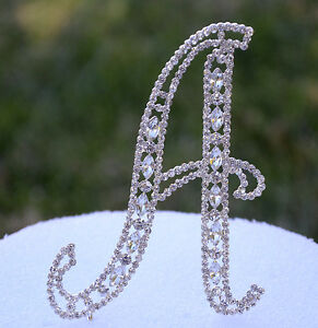 Crystal Rhinestone Silver Cake Topper Letter Table Number Wedding Top Initials