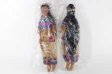 """VINTAGE DOLL  11.5"""" NATIVE AMERICAN INDIAN SOFT RUBBER HEAD Traditional Dress"""