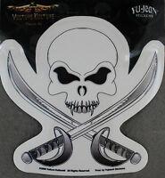 "8733 Black Skull Crossbones Pirate Heavy Metal Rub-on Vinyl Sticker Decal 2.25/"""