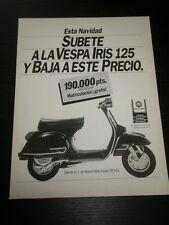 80´s - VESPA IRIS 125 - MOTORCYCLE -  AD ANUNCIO PUBLICITE PUB - SPANISH - 1363