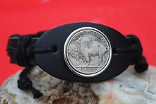 US 1913-38 Indian Head Buffalo Nickel 5 Cent Coin Genuine Leather Cuff Bracelet