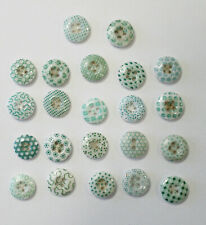 Vintage Antique Victorian China Glass Calico Buttons~22 Buttons