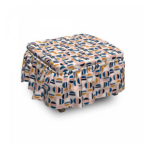 Ambesonne Abstract Ottoman Cover 2 Piece Slipcover Set and Ruffle Skirt