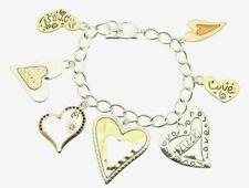 Silver Gold Copper Heart Valentine Inspirational Message Crystal Charm Bracelet