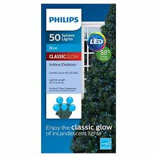 New Philips 50 ct LED Smooth Sphere String Lights Blue Classic Glow Green Wire