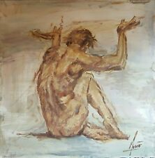 Original Mendoza modern contemporary huge Large nude male oil canvas painting