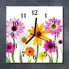 Glass Wall Clock Kitchen Clocks 30x30 cm silent Flowers Multi-Coloured