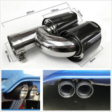 Real Carbon Fiber 76-101mm Car Dual Pipe Left Side Exhaust Pipe Tail Muffler Tip