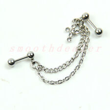 1pc Fashion Double Chain Cross Earring Cartilage Ear Belly Ring Body Jewelry New