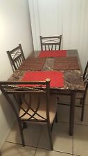 Marble-look Bronze 5-piece Dining Set, Brand new in the box.