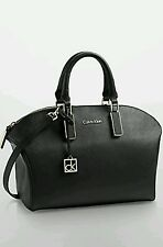 Calvin Klein Scarlett Saffiano Leather City Dome Satchel Bag Purse Black