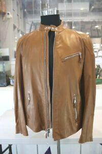 Ralph Lauren Purple Label Lambskin Brown Leather Biker Jacket-RRP $3495