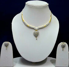 Gold Heart Design American Diamond Bridal Necklace Earring Jewellery Sets SSC88