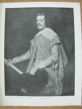 VINTAGE 1912 PRINT - PORTRAIT OF PHILIP IV OF SPAIN By VELASQUEZ