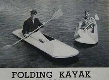Folding Kayak How-To build PLANS Light Wood & Canvas Folds Flat 1963 original