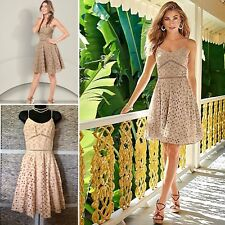 NWT VENUS Eyelet Lace Swing Fit Flare DRESS Smocked Cut Out Sz 8/M Beige Tan $49