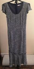 Lovely Navy Blue White Dotty Design Short Sleeve Dress - Size 12