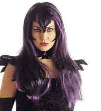 Ladies Black Purple Emo Goth Witch Wig Scary Horror Evil Bride Vampire Halloween