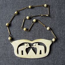 VINTAGE EGYPTIAN REVIVAL JEWELED ELEPHANTS GENUINE BOVINE BONE NECKLACE