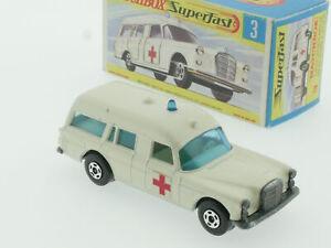 Matchbox 3 C Superfast Mercedes Binz Ambulance breite Räder! OVP 1611-22-16