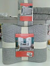 "Opalhouse Stitch Quilt Full/Queen Bedspread 88""x92"" Gray+ matching sham Auction"