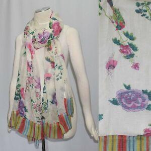 Lisa Corti Sheer Floral Print Scarf Wrap 40 x 80