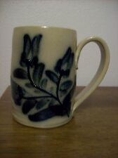 Maple City Pottery coffee mug large with blue flower decoration