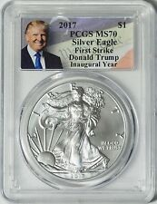 2017 Silver Eagle -- PCGS MS70 (First Strike) Donald Trump Label -- NO RESERVE