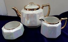 H J Wood Lustre Ware Teapot Creamer & Sugar Bowl Set Very Nice