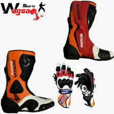 Honda Repsol Motorbike Boot Racing MotoGP Motorbike Leather Shoes With Gloves