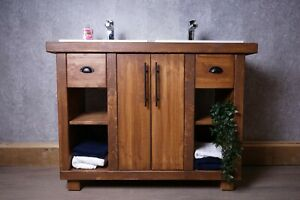Hand-Crafted Vanity Unit With Recessed Double Basins - His & Hers - Bathroom