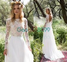 Vintage Boho Wedding Dresses with Long Sleeves Backless Bateau Bohemian Bridal
