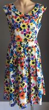 Retro TIMELESS by VANESSA TONG Multi Colour Floral Sleeveless Dress Size 14
