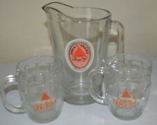Vintage Harp Beer Pitcher-2 Mugs Heavy Glass Great Set To Enjoy Look And Love!