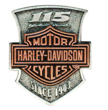 HARLEY DAVIDSON 115TH ANNIVERSARY PIN VEST JACKET PIN 2D DIE STRUCK AUTHENTIC