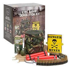 Niños Ejército Camuflaje demolición Kit-Incluye Cinturón De Bala De Juguete/falso dinamita