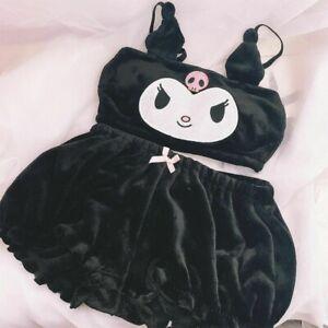 KUROMI Bra Panty Set Black Plush Kawaii Underwear in Bras & Bra Sets for Women