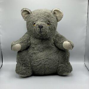 "Vintage 17"" Sitting Gray Teddy Bear Amber Eyes Well Made"