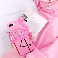3D Flamingo Liquid Glitter Lanyard Silicone Case Cover For iPhone X / XS