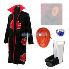 Uchiha Madara Tobi Obito Cosplay Costume Naruto Cloak Mask Ring Shoes Halloween