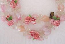 Vintage West Germany pink flower garland necklace