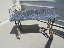 """Antique Victorian claw footed Cast Iron 24"""" Vanity Piano Bench Stool blue velvet"""
