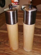 COLE & MASON STAINLESS STEEL & WOOD SALT & PEPPER MILL GRINDERS LOVELY CONDITION