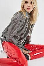 RARE Top Shop 24 x 30 Jamie moto rouge vinyl pvc plastique Jeans Pantalon sold out M