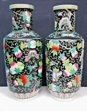 ANTIQUE CHINESE ENAMELED PORCELAIN VASES FAMILLE NOIRE HAND PAINTED 18 1/2''