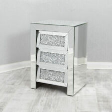 Modern Bedroom Furniture Crush Diamond Glass Crushed Glass 3 Drawer Bedside