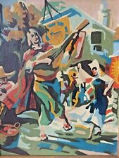 VINTAGE IMPRESSIONIST SPANISH STREET DANCING SCENE OIL PAINTING