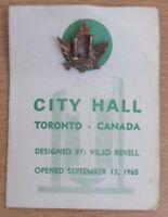 Vintage City Hall, Toronto, Canada, Goldtone or Bronzetone Metal Badge