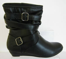 Ladies Spot on Ankle BOOTS Label F50068 Black PU 5 UK Standard