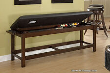 Billiard Pool Storage Bench with Nutmeg Finish & FREE Shipping